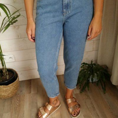 jean taille haute bleu trois quart brut