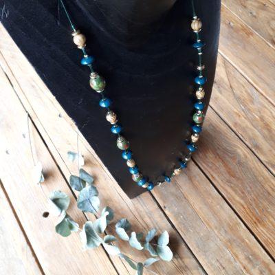 sweet boutik collier perle vert sautoir original doré