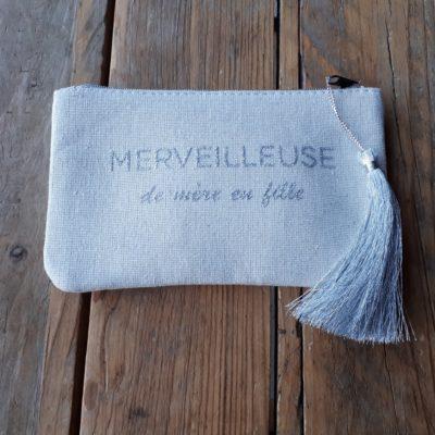 sweet boutik pochette en tissus à message merveilleuse de mère en fille pompon argenté