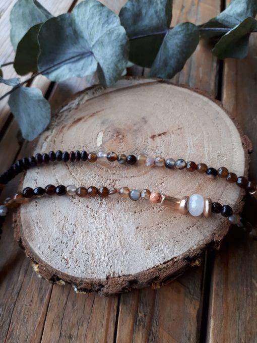sweet boutik collier perles marron
