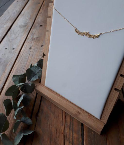 sweet boutik bijoux acier collier long feuille