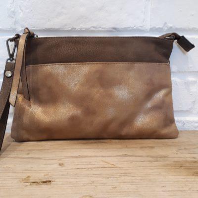 sac pochette marron doré soirée