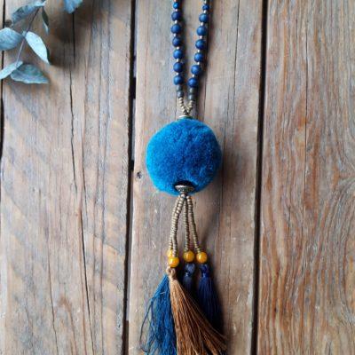 sweet boutik sautoir pompon étoile original bleu marine