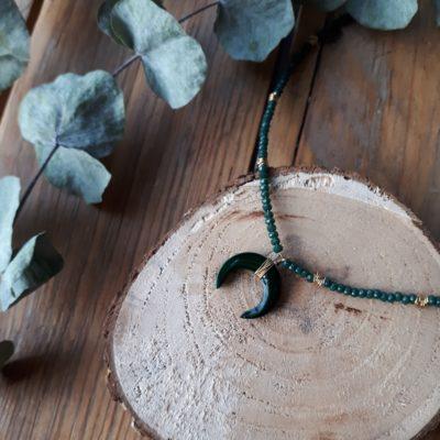 sweet boutik collier perles en verre vert lune tendance
