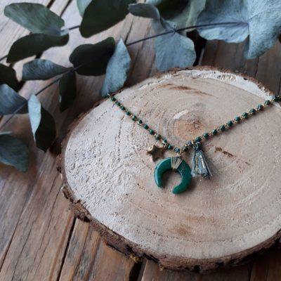 sweet boutik collier acier lune vert étoile pompon