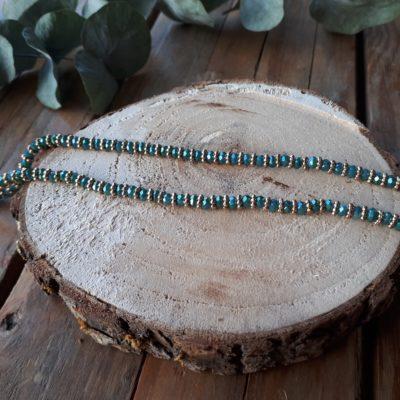 sweet boutik collier perles vert brillant doré en verre