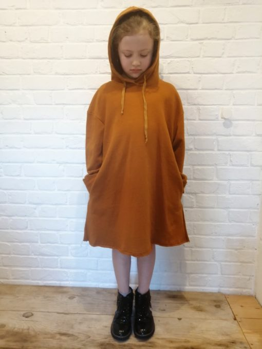 sweet boutik robe sweat à capuche jaune ocre collection fille